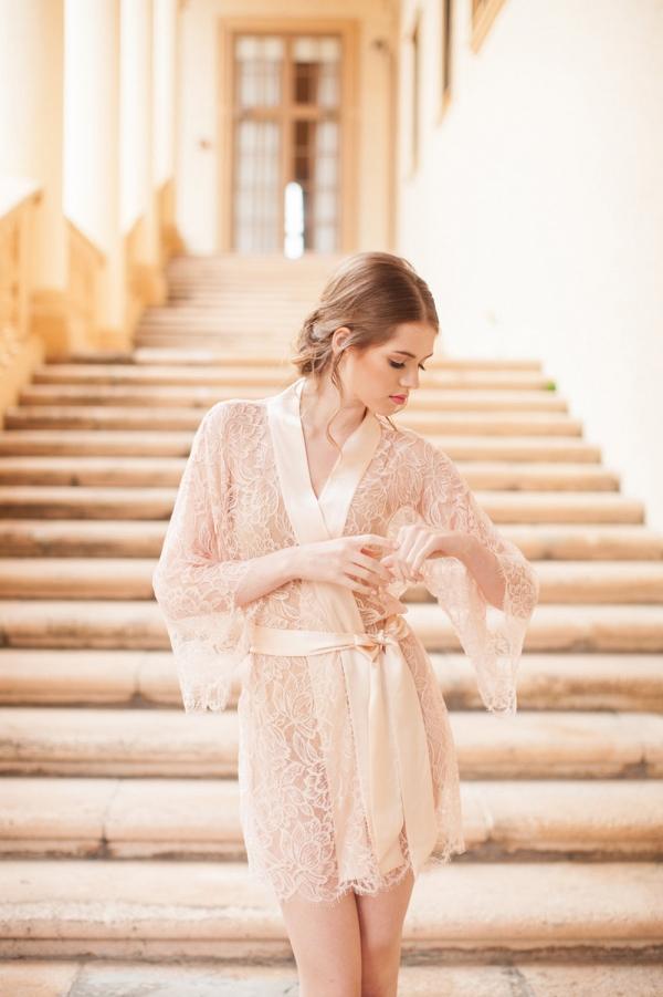 Fleur Le Resort French Lace & Silk Bridal Robe