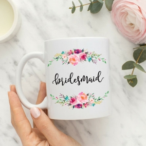 Calligraphy Floral Bridesmaid Mug