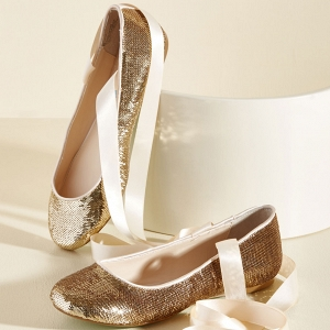 'Center Stage Sensational Flat' Gold Sequin Bridal Ballet Flats