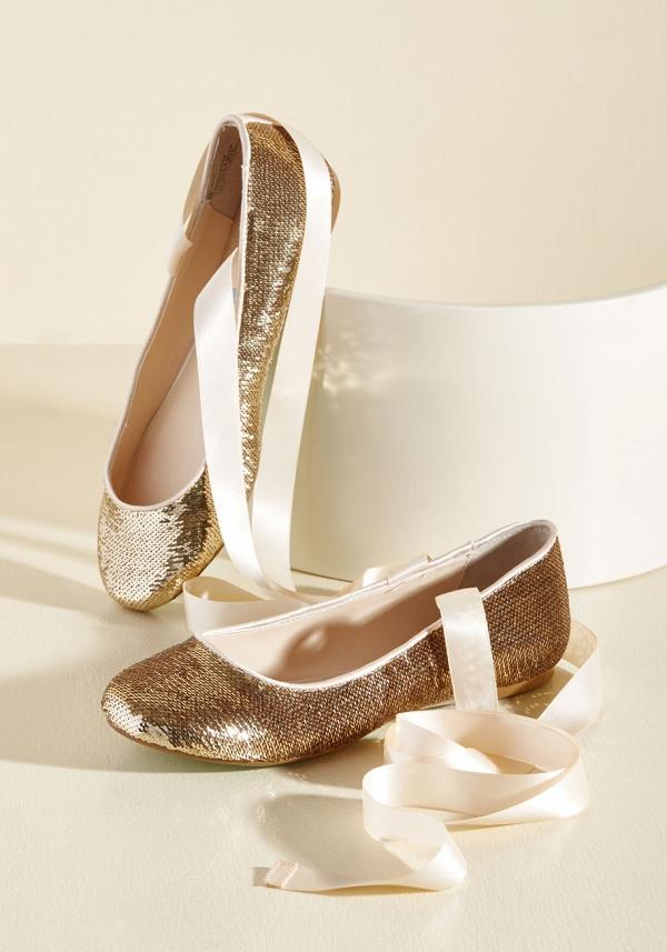 'Center Stage Sensational Flat' Gold Sequin Bridal Ballet Flats