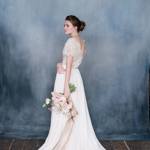 White Wedding Dress with Lace Bodice - Seraphina from Emily Riggs Bridal