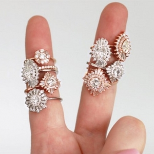 Heidi Gibson Diamond Halo Engagement Rings