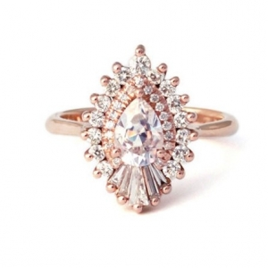 Heidi Gibson 'Rhapsody' Pear Diamond Halo Engagement Ring
