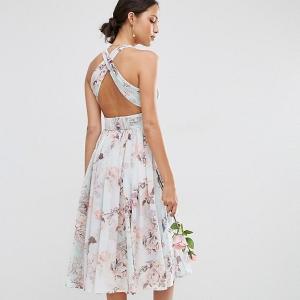 Knee Length Floral Bridesmaids Dress