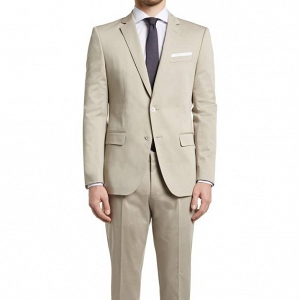 Hugo Boss Slim Fit, Stretch Cotton Suit in Stone