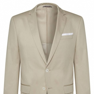 Hugo Boss Slim Fit, Stretch Cotton Suit Jacket in Stone