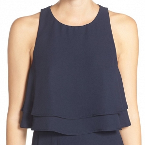 'King' Tiered Chiffon Crop Top in Navy