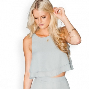 'King' Tiered Chiffon Crop Top in Silver Sage