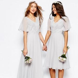 Lace & Pleat Maxi Boho Bridesmaid Dresses