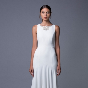 Noa An Elegant Wedding Dress with an Embellished Neckline by Lihi Hod