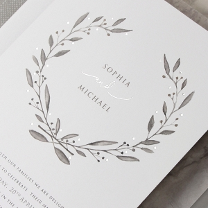 Marble & Silver Foil Watercolor Wedding Stationery Suite