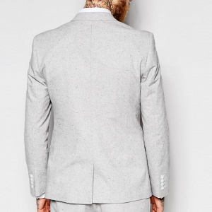 Light Gray Modern Slim-Fit 3 Piece Suit Jacket
