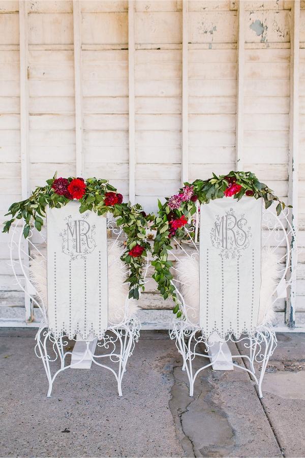 Mr & Mrs Velvet Chair Covers