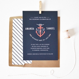 Nautical Anchor Wedding Invite with Kraft Paper Envelope