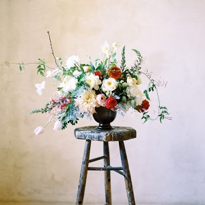 A Modern Vintage Floral Wedding Centerpiece
