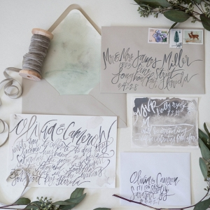 Organic Watercolor Calligraphy Wedding Invitation Suite