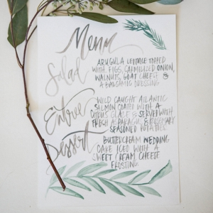Organic Watercolor Calligraphy Wedding Menu