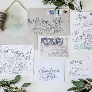 Organic Watercolor Calligraphy Wedding Stationery Suite