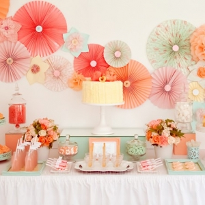 Tissue Paper Pomwheels & Pom Poms Wedding Decor