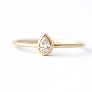 Pear Diamond Modern Engagement Ring