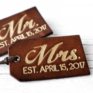 Set of Two Personalised Leather Luggage Tags