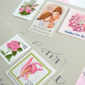Vintage Pink Floral Wedding Postage Stamp Suite