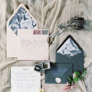 Romantic Black & Blush Wedding Invitation Suite