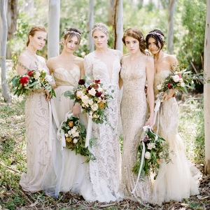Elegant Bride & Bridesmaids in Glittering Beaded Gowns