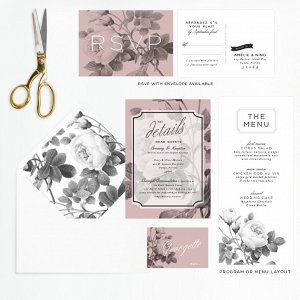 Modern Black & White Rose Wedding Stationery Suite