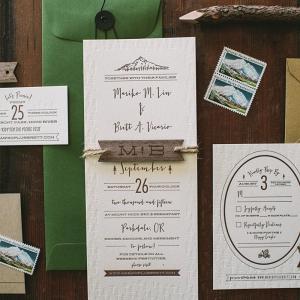 Rustic Mountain Letterpress Wedding Invitation