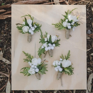 White Floral & Greenery Rustic Boutonnieres