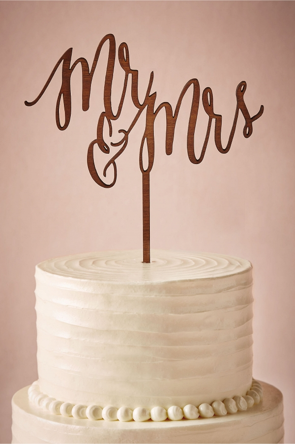 Mr & Mrs Lasercut Wood Wedding Cake Topper