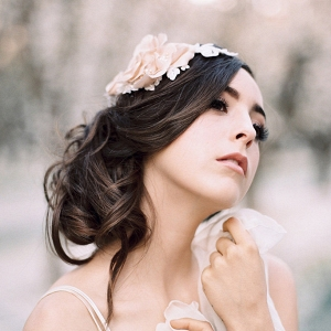Silk Petals and Lace Bridal Hair Comb