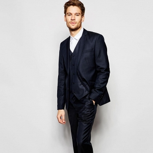 Slim Navy Modern 3 Piece Suit