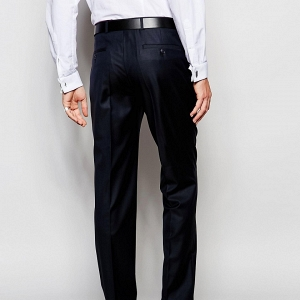 Modern Slim-Cut Navy Suit Pants