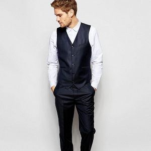 Modern Slim-Cut 3 Piece Navy Suit