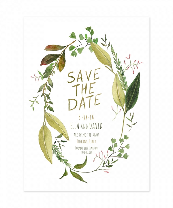 Watercolor Greenery Wedding Save the Date