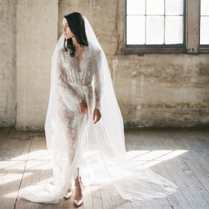 Swan Queen Full Length Lace Bridal Robe