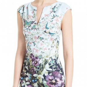 Tiha Floral Print Sheath Mother of the Bride Dress