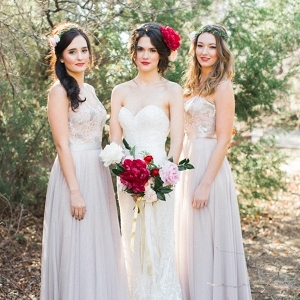 Romantic Bride with Peony Bouquet and Bridesmaids