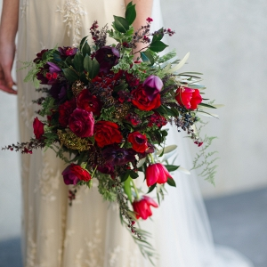 Beautiful Bridal Bouquet in Rich Fall Shades of Red & Purple