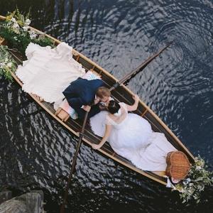 Vintage Row Boat Wedding Getaway