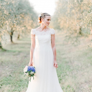 Beautiful Bride in an Off the Shoulder Wedding Dress