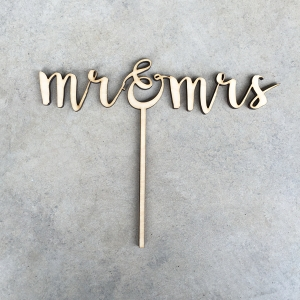 Lasercut Wood Mr & Mrs Wedding Cake Topper