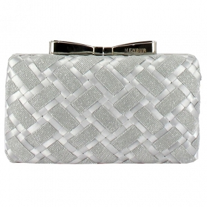Woven Box Bridal Clutch with Bow Clasp