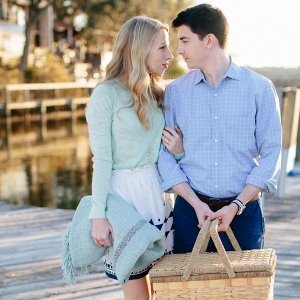Preppy coastal picnic engagement