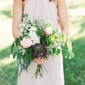 Purple Bridesmaid With Organic Bouquet