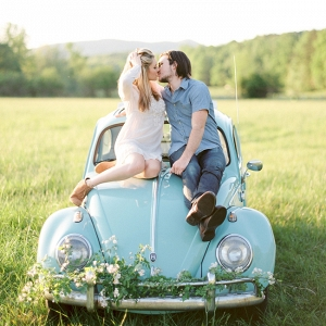 Vintage Sea Foam VW Beetle Engagement Session