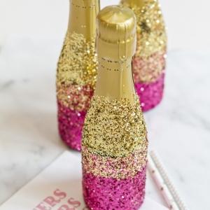 DIY Ombre Glitter Champagne Bottles
