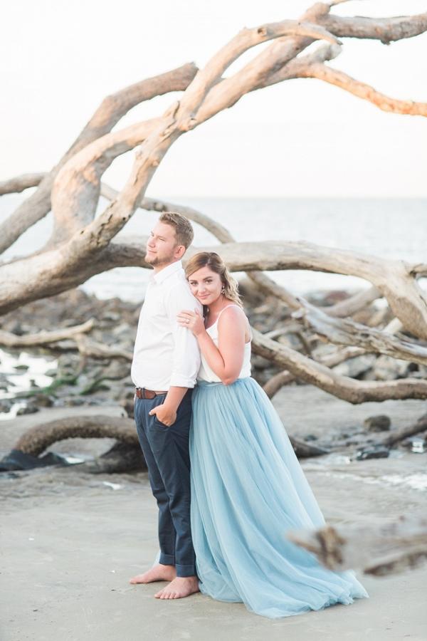 Driftwood Beach Jeckyl Island Engagement